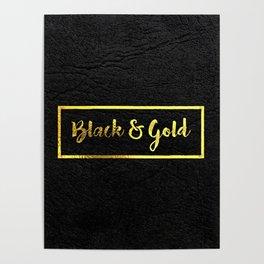Gold Logo Mock Up On Black Leather Poster