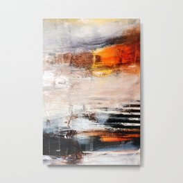 Rust White Black Abstract Painting Print  Metal Print