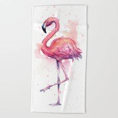 Pink Flamingo Watercolor Tropical Bird Beach Towel