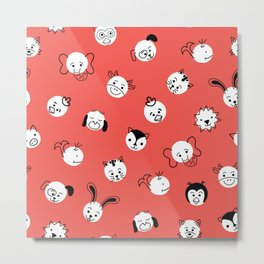 Children Animal Polka Dots Red Metal Print