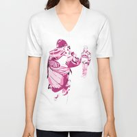 racing V-neck T-shirts featuring Racing Fans by Umbrella Design