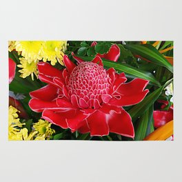 Red Torch Ginger Flower Rug