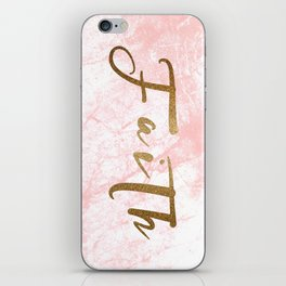 Gold Faith on Pink Marble iPhone Skin