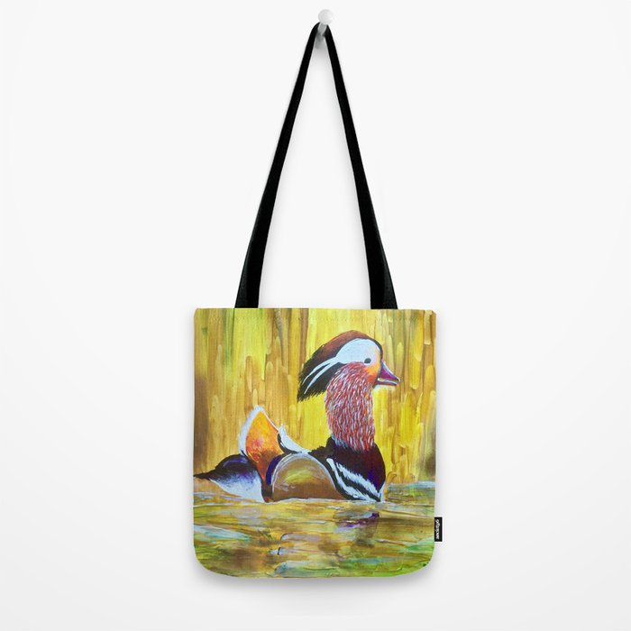 Colorful Mandarin Duck Floating on the water Tote Bag