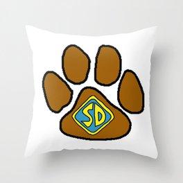 Cartoon Dog Paw Print Throw Pillow