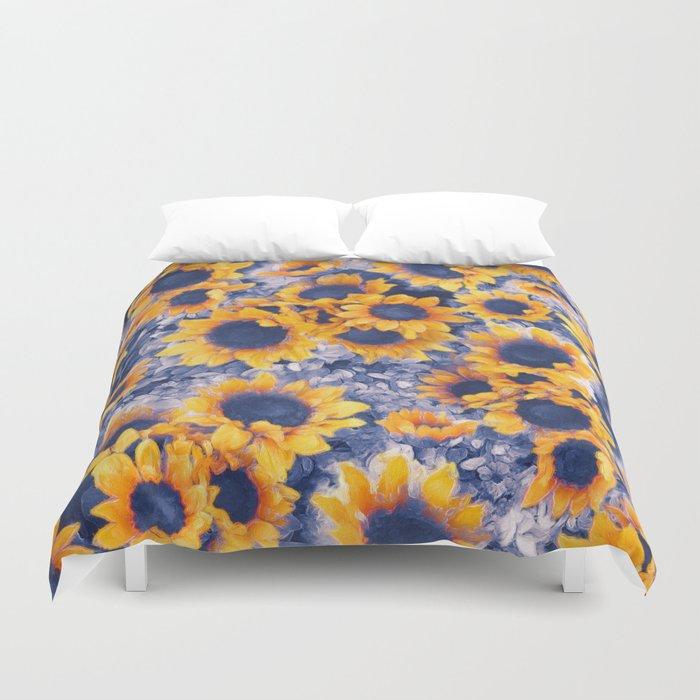 Sunflowers Blue Duvet Cover