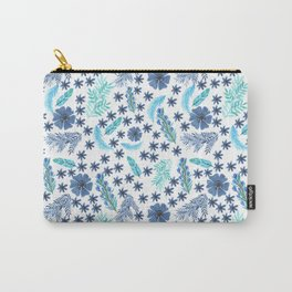Watercolour Blu Leaves and Flowers Carry-All Pouch