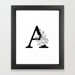 A botanical monogram. Letter initial with peonies Framed Art Print