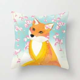 Shanti Sparrow: Charlie and the Cherry Blossom Throw Pillow