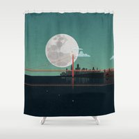 san francisco Shower Curtains featuring SAN FRANCISCO by WyattDesign