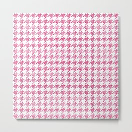 Watermelon Pink Houndstooth pattern Metal Print