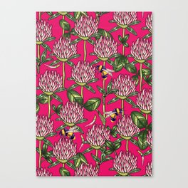 Red clover pattern Canvas Print