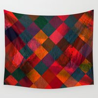 fabric Wall Tapestries featuring Grid fabric by Tony Vazquez