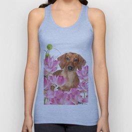 Dog in Field of Lotos Flower Unisex Tank Top