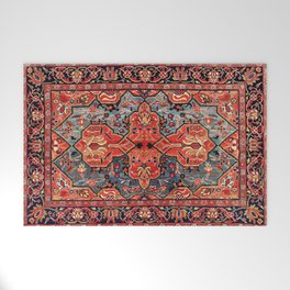Kashan Poshti Central Persian Rug Print Welcome Mat