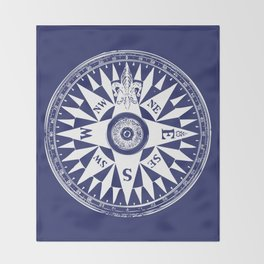 Nautical Compass | Navy Blue and White Throw Blanket