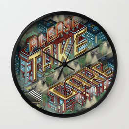 """Take Care"" Isometric Lettering Wall Clock"