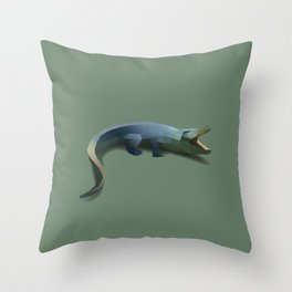 Geometric Crocodile - Modern Animal Art Throw Pillow
