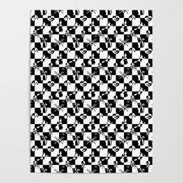 Black and White Vintage Halloween Disco Check Poster