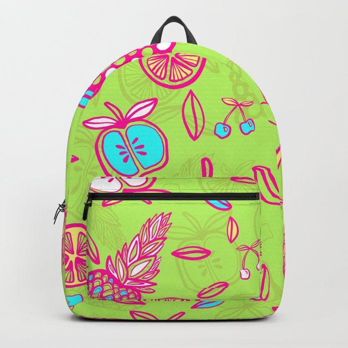 Tropicana on lime green Backpack by rc arty  107f47dbf