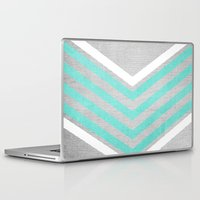 grey Laptop & iPad Skins featuring Teal and White Chevron on Silver Grey Wood by Tangerine-Tane