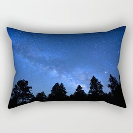 Milky Way (Black Trees Blue Space) Rectangular Pillow