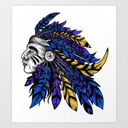American Native Chieftain Head Art Print