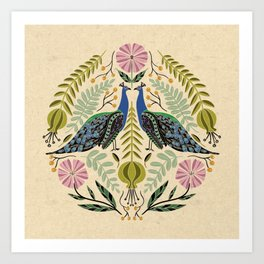 Peacock Illustration // Hand Drawn Birds and Folk Art Flowers // Green, Pink, Blue Art Print