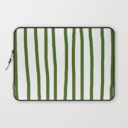 Simply Drawn Vertical Stripes in Jungle Green Laptop Sleeve