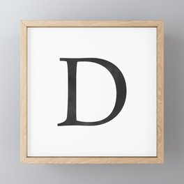 Letter D Initial Monogram Black and White Framed Mini Art Print