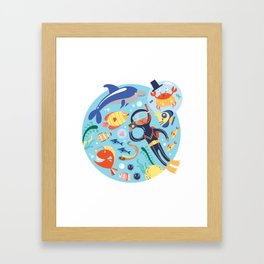 Under The Sea with a Diver Framed Art Print