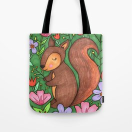 Spring Squirrel Tote Bag