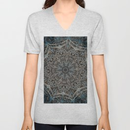 Blue and black Center Swirl Unisex V-Neck