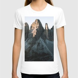 Tre Cime in the Dolomites Mountains at dusk - Landscape Photography T-shirt