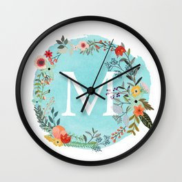 Personalized Monogram Initial Letter M Blue Watercolor Flower Wreath Artwork Wall Clock