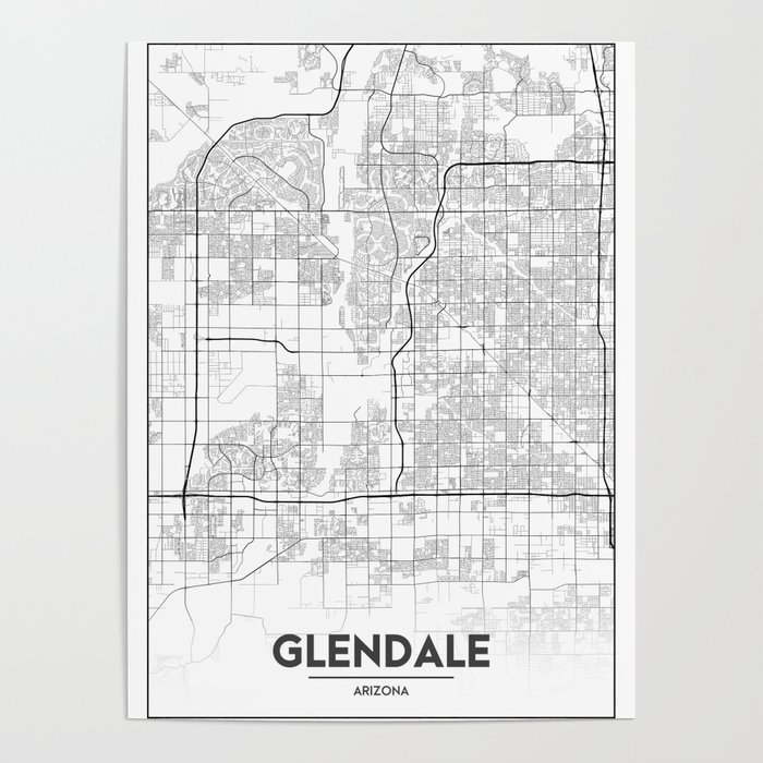 Minimal City Maps - Map Of Glendale, Arizona, United States Poster on klondyke arizona map, baderville arizona map, deer valley arizona map, st george arizona map, reno arizona map, havasu city arizona map, chino arizona map, big bear lake arizona map, santa fe arizona map, humboldt arizona map, eagle creek arizona map, mesquite arizona map, glendale az, tampa florida map, boise arizona map, gilbert arizona map, greasewood arizona map, hidden valley arizona map, mesa arizona map, north valley arizona map,