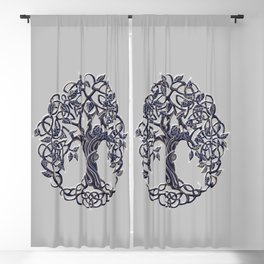 Tree of Life Silver Blackout Curtain