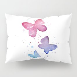 Butterflies Watercolor Abstract Splatters Pillow Sham