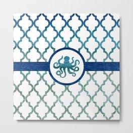Octopus: Tropical Water Moroccan Pattern Metal Print