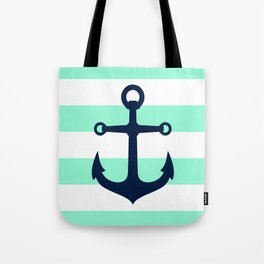 NAVY ANCHOR ON MINT Tote Bag