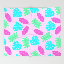 Bright Tropical Leaves Throw Blanket