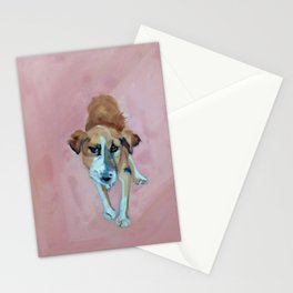 A Dog in Pink Portrait Stationery Cards