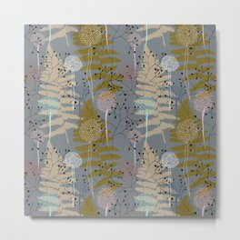 Fairytale forest - ferns, dandelions and grasses. Modern botanical pattern Metal Print