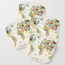 Animal Map of the World for children and kids Coaster
