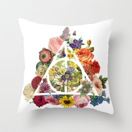 Floral Deathly Hallows - White Throw Pillow
