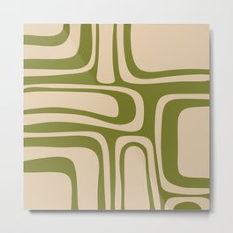 Palm Springs - Midcentury Modern Retro Pattern in Mid Mod Beige and Olive Green Metal Print
