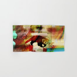 Red Panda Abstract  mixed media art collage Hand & Bath Towel