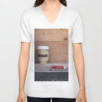 cigarettes V-neck T-shirts featuring Cigarettes and coffee by RMK Creative