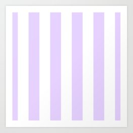 Chalky Pale Lilac Pastel and White Beach Hut Stripes Art Print