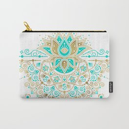 Sacred Lotus Mandala – Turquoise & Gold Palette Carry-All Pouch